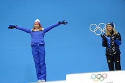 February 14, 2018 - Pyeongchang, South Korea - MAIKEN CASPERSEN FALLA of Norway celebrates getting the silver medal in the Woman's Sprint Classic cross country skiing event in the PyeongChang Olympic games. (Credit Image: © Christopher Levy via ZUMA Wire)