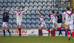 Airdrie's Dale Carrick (10) cele scoring their goal. half time : Raith Rovers 0 v 1 Airdrie, Scottish Football League Division One game played 10/2/2018 at Stark's Park, Kirkcaldy.