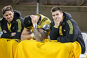A dejected Hurricanes bench during the Super Rugby match, Brumbies V Hurricanes, GIO Stadium, Canberra, Australia, 30th June 2018.Copyright photo: David Neilson / www.photosport.nz
