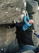 Katy Whittaker on the boulder problem Western Eyes, 7c+, Burbage West