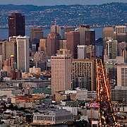 View of downtown San Francisco and Market Street area from Twin Peaks Summit at dusk.