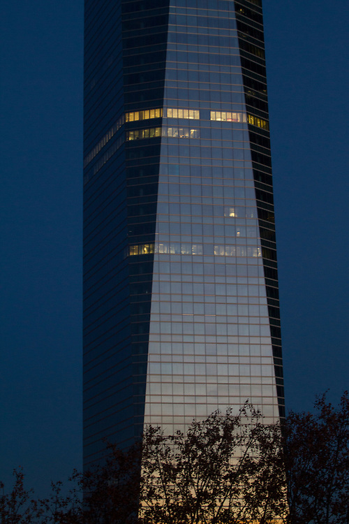 """Spanish for """"Four Towers Business Area"""", is a business district located in the Paseo de la Castellana in Madrid, Spain, on the former Ciudad Deportiva of Real Madrid. The area contains the tallest skyscrapers in Spain, and some of the highest in the European Union: the Torre Espacio, Torre de Cristal, Torre PwC and Torre Cepsa. Construction of the buildings finished in 2008. Now, a fifth tower, Calieido, is under construction."""