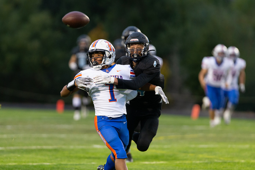 The Ridgefield High School Spudders defeated the Hockinson High School Hawks, 35-0, in the 2A Greater St. Helens League football season opener for both teams at Hockinson High School on Friday, Sept. 17, 2021.
