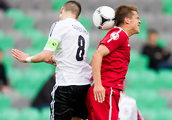 Leon Goretzka of Germany vs Sebastian Rudol of Poland during the UEFA European Under-17 Championship Semifinal match between Germany and Poland on May 13, 2012 in SRC Stozice, Ljubljana, Slovenia. (Photo by Vid Ponikvar / Sportida.com)