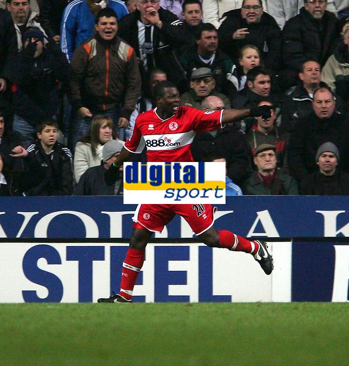 Photo: Andrew Unwin.<br />Newcastle United v Middlesbrough. The Barclays Premiership. 02/01/2006.<br />Middlesbrough's Yakubu celebrates scoring the equaliser.