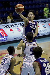 QUEZON Quezon City, May 13, 2017  Jaisanuk Nakorn of Thailand (Top) competes against players from Vietnam during their match in the 2017 SEABA  senior men's championship tournament in Quezon City, the Philippines, May 13, 2017. Thailand won, 76-51.  2017?5?13? (Credit Image: © Rouelle Umali/Xinhua via ZUMA Wire)