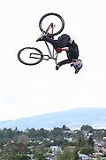 Martin Soderstom, Uppsala Sweden performing aerials turing the finals of the Mons Royal Dual Speed and Style event, Crankworx Rotorua 26.03.2015