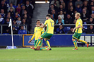 GOAL/CELE  :  Josh Murphy of Norwich City (l) celebrates with his teammates after scoring his teams 2nd goal. EFL Cup, 3rd round match, Everton v Norwich city at Goodison Park in Liverpool, Merseyside on Tuesday 20th September 2016.<br /> pic by Chris Stading, Andrew Orchard sports photography.