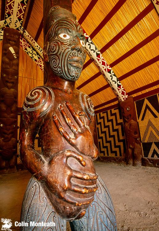 Maori carving in marae, Okains Bay museum, Banks Peninsula, Canterbury, New Zealand