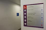 Direction sign inside London Metropolitan University's Holloway Road campus.