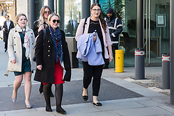London, UK. 10th April 2019. Rebecca Long-Bailey (l), Shadow Secretary of State for Business Energy & Industrial Strategy, and Laura Pidcock (r), Shadow Minister for Business, Energy and Industrial Strategy, join outsourced workers belonging to the Public & Commercial Services (PCS) union standing on a picket line outside their place of work at the Government Department for Business, Energy and Industrial Strategy (BEIS) during strike action to demand a real living wage of £10.55 per hour (the Living Wage Foundation's London Living Wage) and terms and conditions comparable with civil servants who work in the same department.