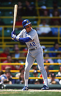 CHICAGO - 1989:  Omar Vizquel #42 of the Seattle Mariners bats against the Chicago White Sox during a 1989 MLB game at Comiskey Park in Chicago, Illinois.  Vizquel played for the Mariners from 1989-1993.  (Photo by Ron Vesely)