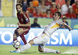 08.09.2014, Estadi Ciutat de Valencia, Valencia, ESP, UEFA Euro 2016 Qualifikation, Spanien vs Mazedonien, Gruppe C, im Bild Spain's Juanfran Torres (l) and Fyrom's Ardian Cuculi // during the UEFA EURO 2016 Qualifier group D match between Spain and Macedonia at the Estadi Ciutat de Valencia in Valencia, Spain on 2014/09/08. EXPA Pictures © 2014,<br /> <br /> *** NETHERLANDS ONLY ***