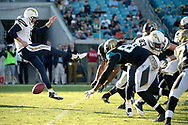 San Diego Chargers punter Mike Scifres (5) has his punt blocked during the second half of an NFL football game against the Jacksonville Jaguars in Jacksonville, Fla., Sunday, Nov. 29, 2015. The Chargers won 31-25. (Phelan M. Ebenhack for the Associated Press)
