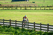 Cyclist in rural Austria alpine fields in the background. Photographed in Neustift, Stubaital, Tyrol, Austria