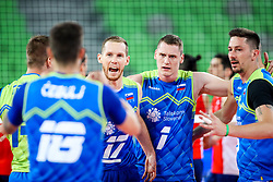 Tine Urnaut of Slovenia, Toncek Stern of Slovenia and Dejan Vincic of Slovenia celebrate during volleyball match between Slovenia and Chile in Group A of FIVB Volleyball Challenger Cup Men, on July 3, 2019 in Arena Stozice, Ljubljana, Slovenia. Photo by Matic Klansek Velej / Sportida