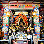 Image of Fudō myōō (Fudo myoo or the Unmovable Wisdom King) forms the heart of the shrine in the Daitou, or Great Pagoda. Built in 1984, the Daitou stands over 58 meters tall on the top of Narita Mountain. The Narita-san temple, also known as Shinsho-Ji (New Victory Temple), is Shingon Buddhist temple complex, first established 940 in the Japanese city of Narita, east of Tokyo.