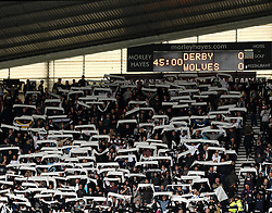 Derby County fans hold up scarfs before kick off - Mandatory byline: Robbie Stephenson/JMP - 07966 386802 - 18/10/2015 - FOOTBALL - iPro Stadium - Derby, England - Derby County v Wolverhampton Wanderers - Sky Bet Championship