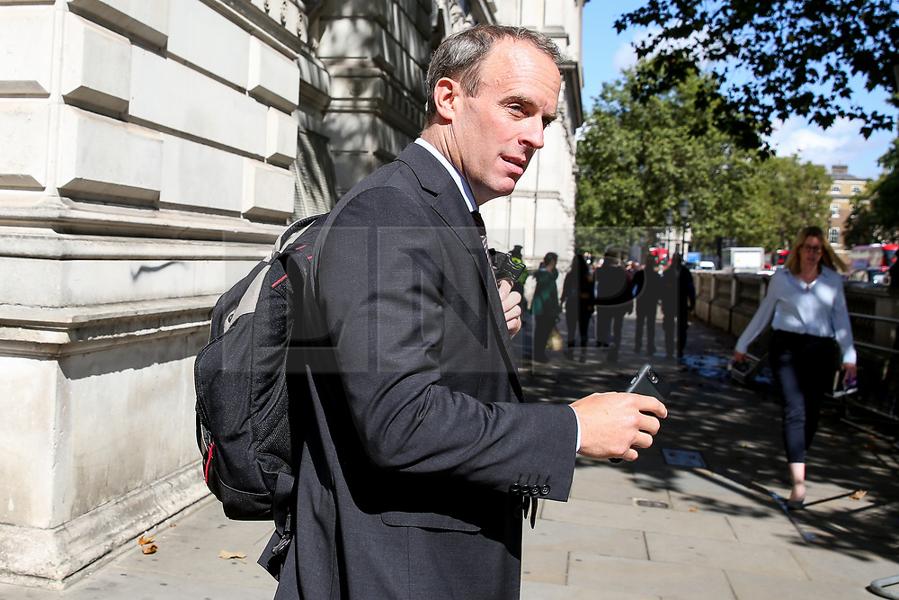 © Licensed to London News Pictures. 04/009/2019. London, UK. Foreign SecretaryDOMINIC RAAB walking to the House of Commons to attend British Prime Minister Boris Johnson's' first Prime Minister's Questions (PMQs). Photo credit: Dinendra Haria/LNP
