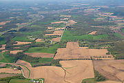 Aerial view of farmland and countryside in rural Dane County, Wisconsin, north of Cross Plains on a beautiful spring day.