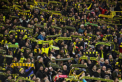 Borussia Dortmund fans in the stands show their support
