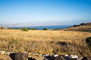 Israel, Galilee, The Sea of Galilee [Lake Kineret or Lake Tiberias] as seen from Arbel mountain