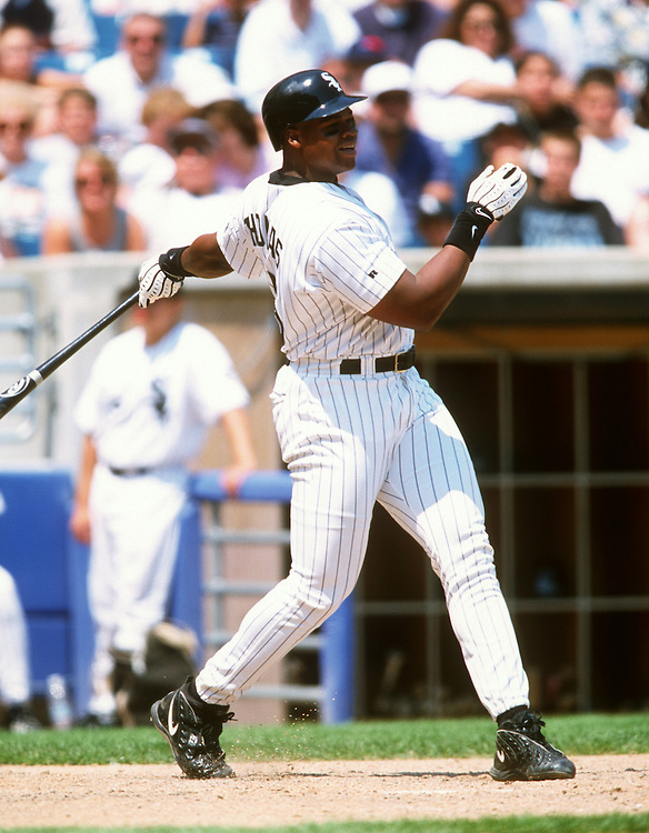 CHICAGO - 1998:  Frank Thomas of the Chicago White Sox bats during an MLB game at Comiskey Park in Chicago, Illinois.  Thomas played for the White Sox from 1990-2005.  (Photo by Ron Vesely)