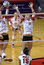09 October 2009: Tabitha Visk handles the net defense with Katie Culbertson by her side. The Redbirds of Illinois State defeated the Braves of Bradley in 3 sets during play in the Redbird Classic on Doug Collins Court inside Redbird Arena in Normal Illinois