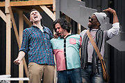 """Ted Deasy, Triney Sandoval, and La Shawn Banks sing out a tune during rehearsal for William Shakespeare's """"Twelfth Night"""" at American Players Theatre in Spring Green, WI on Thursday, May 16, 2019."""