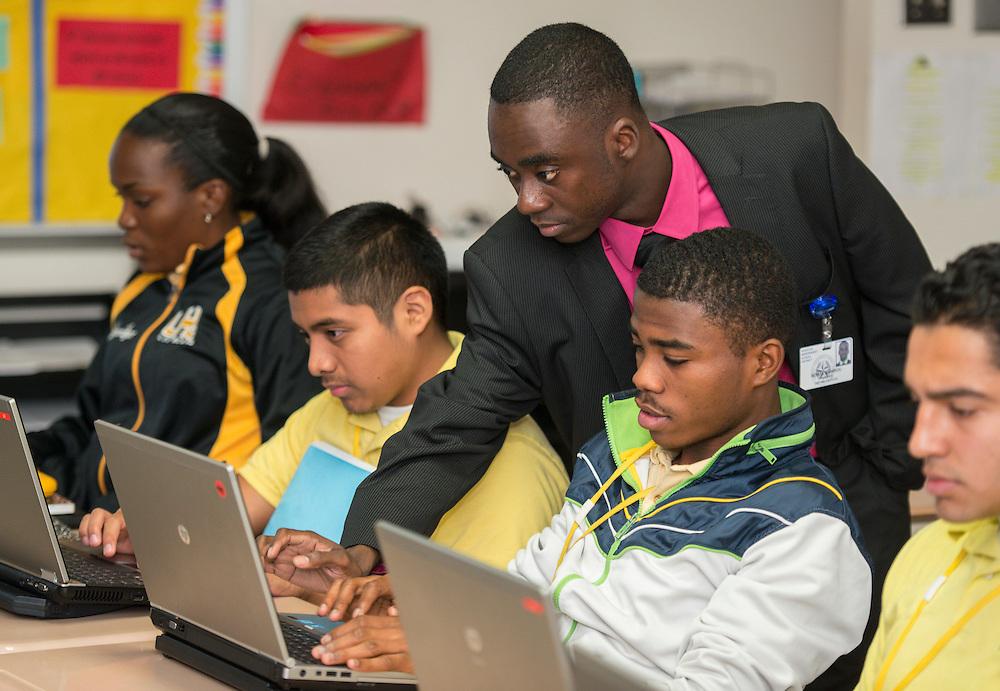 Math teacher Dahirou Ndiaye conducts an AP Statistics class at Lee High School, November 21, 2013.