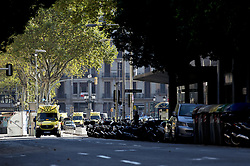 BARCELONA (SPAIN), Aug. 17, 2017  Ambulances are seen near Plaza Catalonia following a terrorist attack in central Barcelona, Spain, on Aug. 17, 2017. At least one person was reported dead and 32 others injured following a terrorist attack in the city of Barcelona on Thursday afternoon. (Credit Image: © Lino De Vallier/Xinhua via ZUMA Wire)