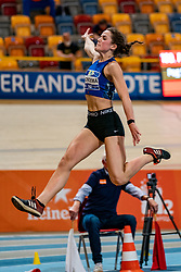 Pauline Hondema in action on the long jump during AA Drink Dutch Athletics Championship Indoor on 20 February 2021 in Apeldoorn.