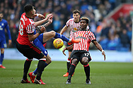 Didier NDong of Sunderland  (17) in action. EFL Skybet championship match, Cardiff city v Sunderland at the Cardiff city stadium in Cardiff, South Wales on Saturday 13th January 2018.<br /> pic by Andrew Orchard, Andrew Orchard sports photography.