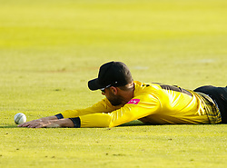 Gloucestershire's Jack Taylor looks at the ball after failing to take the catch<br /> <br /> Photographer Simon King/Replay Images<br /> <br /> Vitality Blast T20 - Round 1 - Somerset v Gloucestershire - Friday 6th July 2018 - Cooper Associates County Ground - Taunton<br /> <br /> World Copyright © Replay Images . All rights reserved. info@replayimages.co.uk - http://replayimages.co.uk