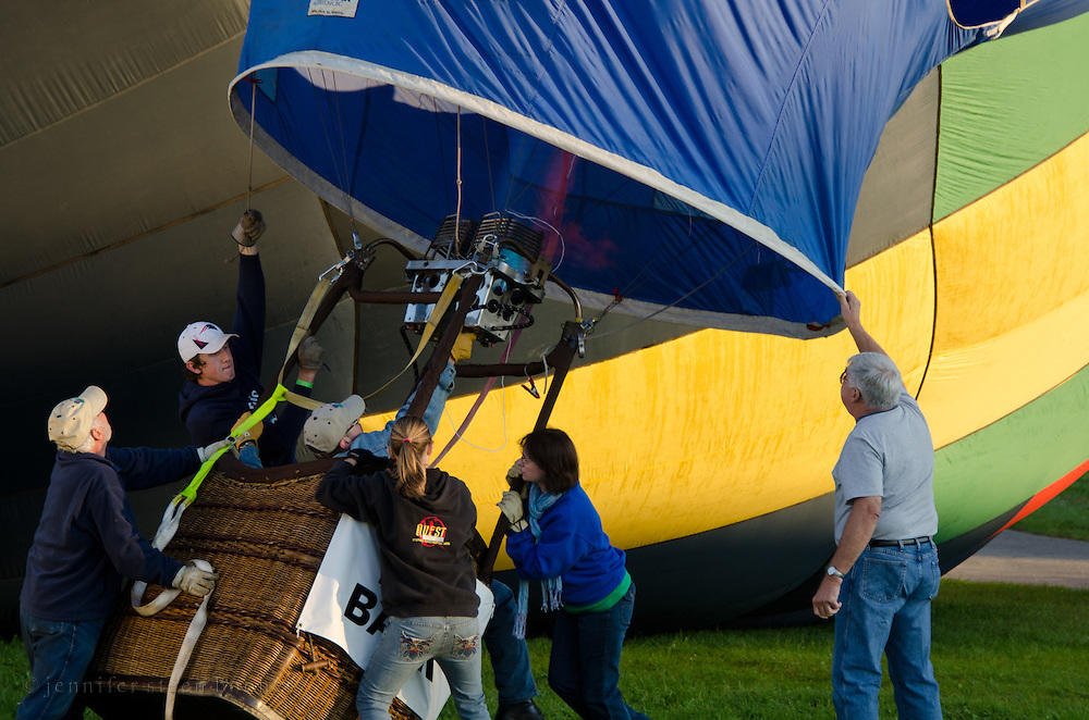 Filling the envelope of 'Blues Breaker,' Crown of Maine Balloon Fair, Presque Isle, Maine.