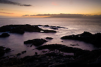 """The coast at sunset in the """"Playa de los Cristianos"""" town, south of Tenerife Island, Canary Islands, Spain."""