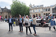 Brexit party campaigning in Peterborough before the byelection caused by the jailing of the local MP for a lying about a speeding offense.  1 June 2019