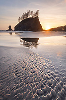 Second Beach at sunset, Olympic National Park near La Push Washington