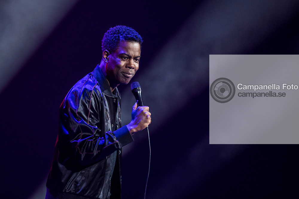 STOCKHOLM, SWEDEN - OCTOBER 02: Chris Rock performs live during his Total Blackout Tour at the Ericsson Globe Arena on October 2, 2017 in Stockholm, Sweden. (Photo by MICHAEL CAMPANELLA/Redferns)