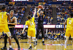 Mar 20, 2019; Morgantown, WV, USA; Grand Canyon Antelopes forward Michael Finke (43) shoots a three pointer during the first half against the West Virginia Mountaineers at WVU Coliseum. Mandatory Credit: Ben Queen