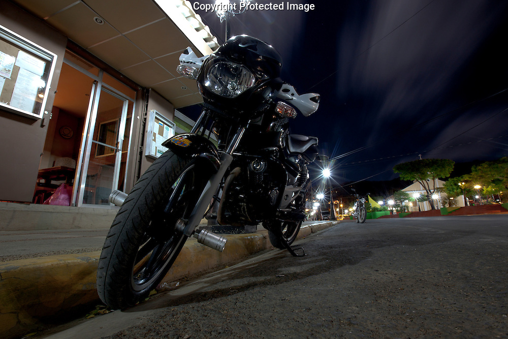 A parked motorcycle in San Juan Del Sur, Nicaragua on Thursday, February 17th 2011.