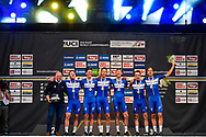 Podium winners QuickStep - Floors during the 2018 UCI Road World Championships, Men's Team Time Trial cycling race on September 23, 2018 in Innsbruck, Austria - Photo Dario Belingheri / BettiniPhoto / ProSportsImages / DPPI