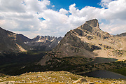 Overlooking the Cirque of the Towers (background), Bear Lake and Lizard Head Peak (right)  in the Wind River Range, Shoshone National Forest, Wyoming