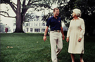 Vice President George H.W. Bush and Barbara Bush relax at the Vice President's mansion in August 1982...Photograph by Dennis Brack BBBs 20