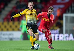 Rune Frantsen (AC Horsens) og Mikkel Damsgaard (FC Nordsjælland) under kampen i 3F Superligaen mellem FC Nordsjælland og AC Horsens den 19. februar 2020 i Right to Dream Park, Farum (Foto: Claus Birch).