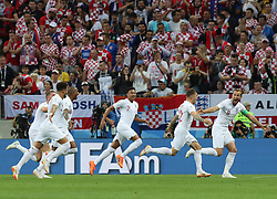 MOSCOW, July 11, 2018  Kieran Trippier (2nd R) of England celebrates scoring with teammates during the 2018 FIFA World Cup semi-final match between England and Croatia in Moscow, Russia, July 11, 2018. (Credit Image: © Yang Lei/Xinhua via ZUMA Wire)