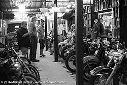 Steve Coe give a tour of his home / shop on Wednesday before the Friday start of the Motorcycle Cannonball Cross-Country Endurance Run. Daytona Beach, FL, USA. September 3, 2014.  Photography ©2014 Michael Lichter.