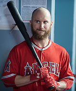 The Angels' Shane Robinson prepares to hit in the dugout during the Angels' Freeway Series game against the Dodgers Thursday night at Dodger Stadium.<br /> <br /> ///ADDITIONAL INFO:   <br /> <br /> freeway.0401.kjs  ---  Photo by KEVIN SULLIVAN / Orange County Register  --  3/31/16<br /> <br /> The Los Angeles Angels take on the Los Angeles Dodgers at Dodger Stadium during the Freeway Series Thursday.<br /> <br /> <br />  3/31/16