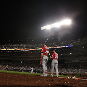 NEW YORK, NEW YORK - July 09: Daniel Murphy #20 of the Washington Nationals and Bryce Harper, (left), #34 of the Washington Nationals wait on deck as Antonio Bastardo #59 of the New York Mets warms up during the Washington Nationals Vs New York Mets regular season MLB game at Citi Field on July 09, 2016 in New York City. (Photo by Tim Clayton/Corbis via Getty Images)