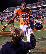 CHARLOTTESVILLE, VA- NOVEMBER 12: Cornerback Dom Joseph #23 of the Virginia Cavaliers greets the fans after the game against the Duke Blue Devils on November 12, 2011 at Scott Stadium in Charlottesville, Virginia. Virginia defeated Duke 31-21. (Photo by Andrew Shurtleff/Getty Images) *** Local Caption *** Dom Joseph